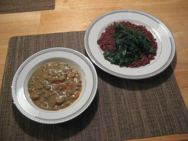 Curried Coconut Lentil Soup Kale Red Rice